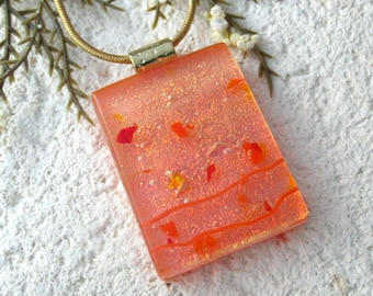 Accented Orange Necklace, Dichroic Glass Jewelry, Fused Glass Jewelry, Gold Necklace, Dichroic Jewelry, Fused Glass Pendant, 082316p101