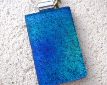 Ombre Blue Necklace, Dichroic Necklace, Fused GlassJewelry, Dichroic Glass Jewelry, Necklace Included, Dichroic Glass Pendant, 082816p107