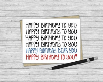 Printable Birthday Card, Happy Birthday To You Song, Greeting Card, Lettering, Illustration, Balloon, Birthday, Card, Instant Download