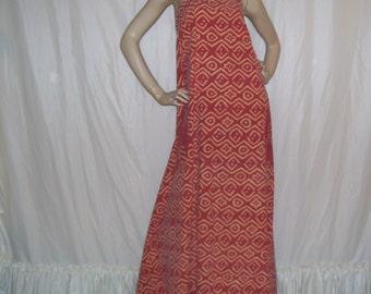 Hippie Maxi Sundress Orange Red Chevron Batik Upcycled Vtg Vintage India Tapestry Hipster Cruise Resort Festival Maxi Long Dress Adult M L
