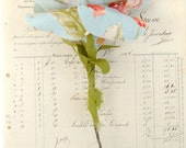 Cotton Flower Blue Floral Vintage Style Fabric Flower Made to order