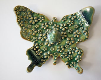 Beautiful Butterfly Ring Dish, Shades of Green, Handmade Pottery