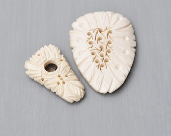 SALE! 2 Vintage Carved Bone Dress Clips - shield shaped with pierced holes leaves - made in Japan