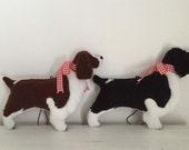 RESERVED 3 Springer Spaniel Dog Friend Ornaments in Black/White and Liver/White