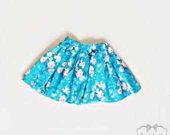 Roses SALE Skirt Girl - Retro Floral Twirl Skirt - Skirt Size 4T 4 -  Ready to Ship Skirt - Turquoise Retro Girl Skirt - Toddler Blue Twirl