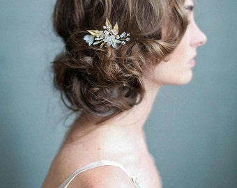 Bridal hair pin -Frosted garden trinkets hairpin - Style 731 - Made to Order