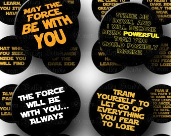 INSTANT DOWNLOAD Four Digital Images Sheets Star Wars Inspired Quotes 1.5 Inch Circles for Pendants Tags Magnets Crafts (CPS27-CPS30)