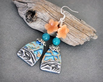 Peach teal. Artisan earrings. nature inspired dangle earrings. Handmade polymer clay drops, antiqued silver, metal impression effect clay