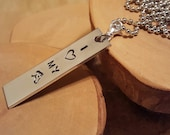 I Heart My HORSE aluminum rectangle hand stamped metal pendant charm necklace