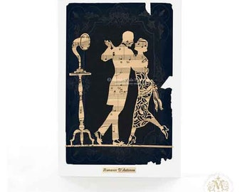Art Deco, dancing couple, 1920s flapper silhouette, love, romantic, Valentines day, all occasion card
