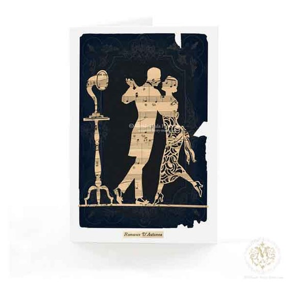 Art Deco card, dancing couple, Valentine card, 1920s flapper, silhouette, romantic card, gramophone, phonograph, French card, love card