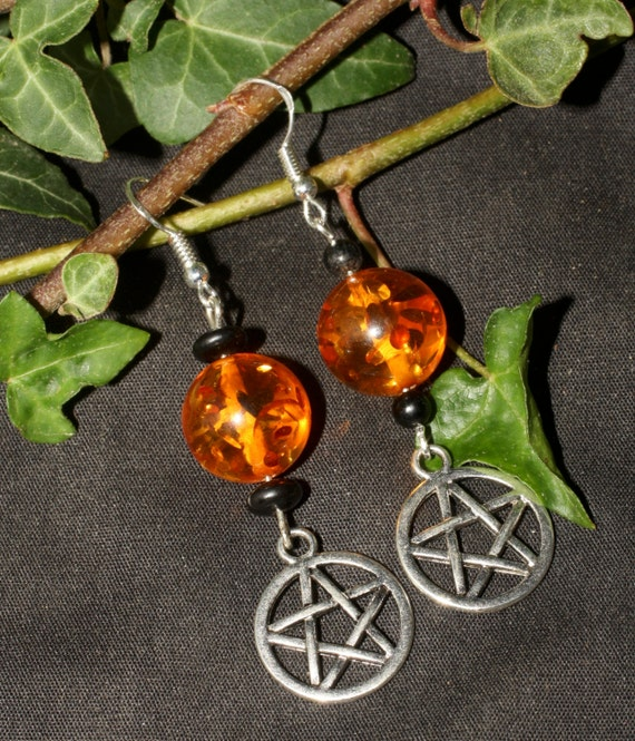 Baltic Amber and Jet Witches Earrings Pentagram Earrings - Pagan, Wiccan, Pentacle