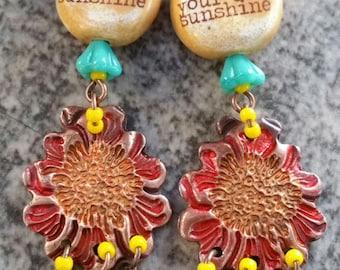 Unique OOAK Artisan Make your own Sunshine Copper BOHEMIAN Dangle Earrings