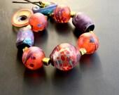 Artisan handmade lampwork glass bead set by Lori Lochner designer jewelry supply wabi sabi rustic autumn mix