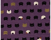 HALF YARD - Neko II - Cat Faces on Purple w/ Gold Metallic Accents - Calico, Black Cat - 3170-14C - Quilt Gate