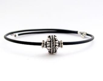 Sterling Silver Minimal Bracelet, Wrap Memory Wire Bracelet, Bali Sterling silver beads, Miss Ceces Jewels, gift for woman coworker sister
