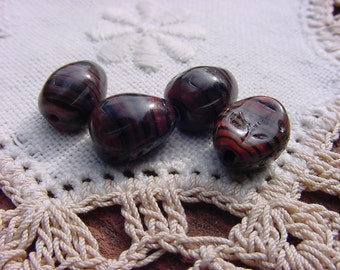 Brick Red Ebony Etched Vintage Glass Beads