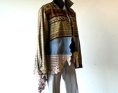 L-Plus Size Vintage Silk Blend Tapestry Swing Jacket lagenlook boho chic hippie upcycled handmade clothing wearable art FREE U.S. shipping