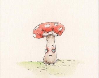 Little Mushroom Friend - original watercolor painting - ACEO