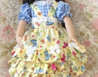 Effner Little Darling Dress With A Blouse It's A Flower Garden  Found In The Storm With Headband  By TnTCreations