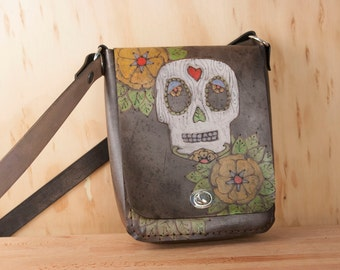 Small Leather Crossbody Purse - Shoulder bag in the Walden Pattern with Sugar Skull and Flowers in Antique Black  - Womens Handbag