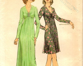 Simplicity 6024 EYE CATCHER BODICE 1970s Gown Size 12 Bust 34 ©1973