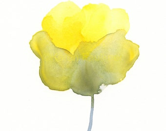 "Watercolor yellow and grey flower print:  ""Optimism"""
