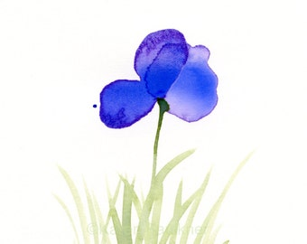 "Original watercolor painting of a purple flower: ""Purple Field 2"""