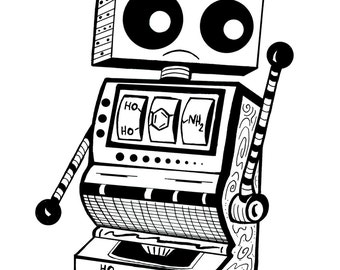 Coloring Art Print Robot #7 Dopamine Slot Machine 11x17 Poster Art For You To Color and Frame with FREE Markers