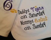 Daddys Tigers and Mommys Saints Matching Bib and Burp Cloth with Saints Gold, Tigers Gold, Purple, and Black Embroidery Thread