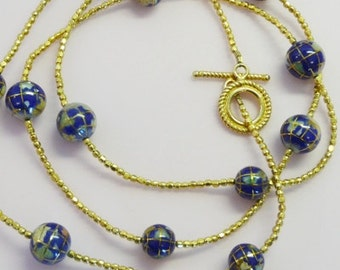 Gold vermeil with inlayed globe beads necklace