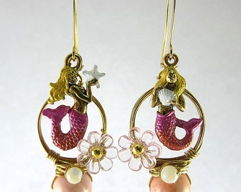 Pink Mermaid Earrings, Mismatch Earrings, Mermaid Hoop Earrings, Pink Hoop Earrings, Pink Fantasy Earrings, Nautical Mermaid Earrings