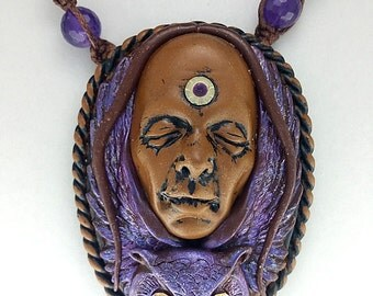 Purple Owl Spirit Animal With Red Eyes And Amethyst Necklace, Animal Totem Necklace, Polymer Clay Fairy Necklace, Fairy Goddess Necklace