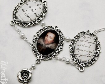 William Shakespeare Necklace Hamlet Midsummernight's Dream vintage London Litarature quotes quote handmade fashion jewelry