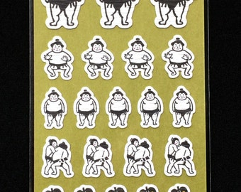 Japanese Stickers - Sumo Wrestler Stickers - Chiyogami Paper Stickers S50