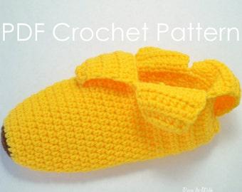 Easy Banana Slippers - Crochet PDF Pattern
