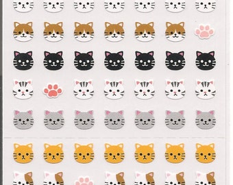 Tiny Cat Heads Sticker Sheet-One Point Seal-Premium Simple Collection-Japan