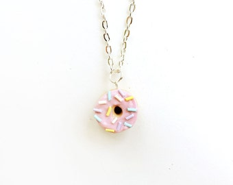 Pink Strawberry Sprinkle Donut Necklace Polymer Clay Charm