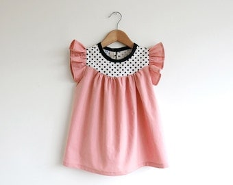 peach cotton dress with dots detail