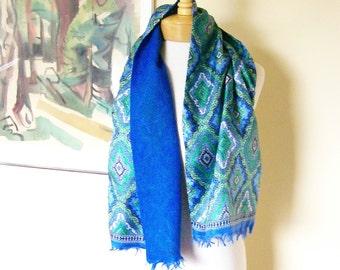 Vintage Silk Scarf Blue & Green Paisley Design Long Scarf  11 x 46 Boho Accessories
