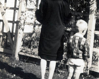 Vintage photo Flapper Lady & Boy from Back Rear View 1920s