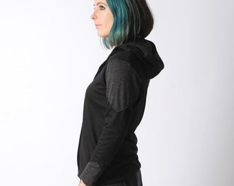 Black hooded jacket, Black womens jersey sweater, Black and grey cardigan with hood and long sleeves, Your size