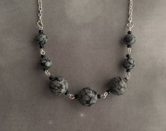 Snowflake Obsidian Rounds Necklace