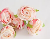 silk flowers - 5 Budding Vintage Inspired Shabby Chic Pink and Cream Cabbage Roses - ITEM 0192