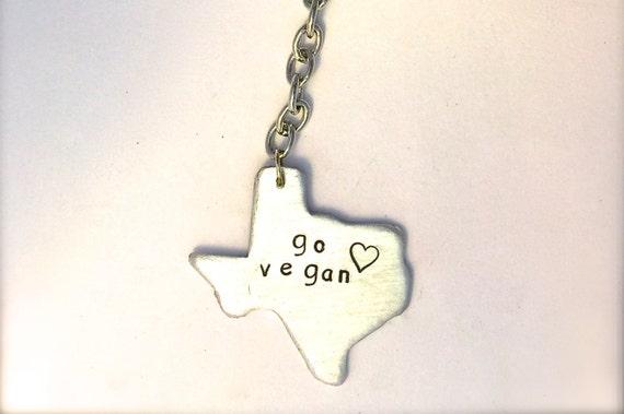 Go Vegan- Texas Keychain-Vegan- Gifts-Birthday-Anniversary-Men's-Eco Friendly-State Keychain-Vegan Accessories-Wedding-Personalized