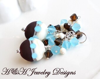 Blue and Brown Lampwork Earrings With Swarovski Crystals