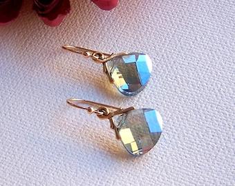 Blue Crystal Earrings – Dangle Earrings, Gold Earrings, Crystal Earrings
