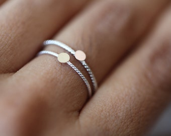 Tiny - 14k solid gold disc on silver band, stacking ring