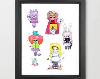"Alice in Wonderland Group Illustration Print - 8.5""x11"" or 5""x7"""