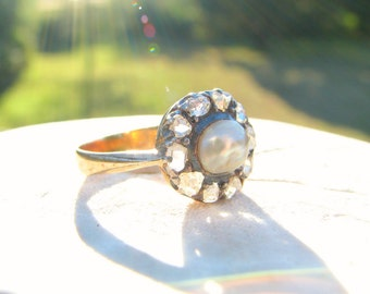 Antique Diamond Pearl Ring, Old Rose Cut Diamond Halo, Lustrous Pearl, in 18K Gold and Silver, Elegant Victorian Ring